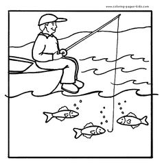 Happy Girl Fishing Summer Coloring Pages  Coloring page for