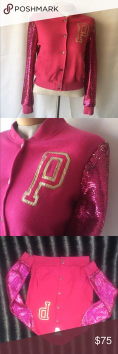 """Victoria Secret sequin sleeved Pink Varsity Jacket From """"her pink"""" Collection These are Sold Out and Discontinued You can no longer purchase these through Victoria's Secret! Very Fun, and SEXY all rolled up into one. (Flaws pictured above) under left armpit. PINK Victoria's Secret Jackets & Coats"""