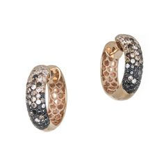 These elegant #hoop #earrings captivate with a dazzling array of white, black and brown #diamonds in a #trendy #ombre style. TJ #Jewelry Collection 18k #RoseGold Multi Color Diamond Hoop Earrings | Tapper's Diamonds & Fine Jewelry | www.tappers.com