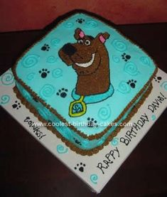 Homemade Scooby Birthday Cake Design. I like this idea except with pink instead of blue icing and lime green instead of the brown.