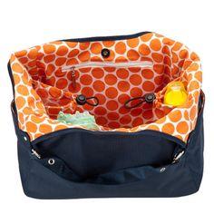 JP Lizzy Satchel Diaper Bag - Navy Mandarin   Designer Diaper Bags  www.duematernity.com