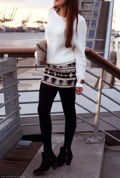 Patterned skirt with soft white knit - beautiful late September style for when the afternoon sun starts to glow in soft orange tones.