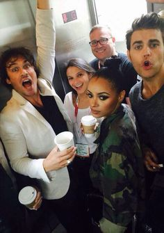 I wouldn't mind an elevator ride with these cuties ~ Ian Somerhalder,  Kat Graham,  Paul Wesley~ San Diego ComicCon 2015