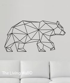 Geometric Bear Wall Decal, Geometric Bear Decals, Bear Home Decor Wall Sticker…