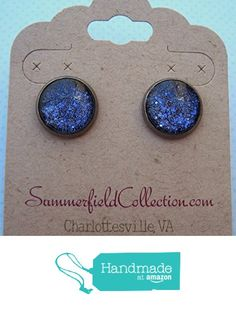 "Hematite-Tone Purple Glitter Glass Galaxy Stud Earrings 1/2"" Round from Summerfield Collection http://www.amazon.com/dp/B01BB4U81O/ref=hnd_sw_r_pi_dp_C5.Swb09E7PFA #handmadeatamazon"