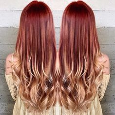 Stunning fiery ombre from copper to gold created by stylist Caroline! @ www.butterflyloft.com http://www.haircolorsideas.com/red-hair/copper-to-gold-ombre/