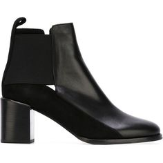 See By Chloé Panelled Ankle Boots (1.250 BRL) ❤ liked on Polyvore featuring shoes, boots, ankle booties, black, cut out booties, black ankle boots, leather ankle boots, black ankle booties and leather booties
