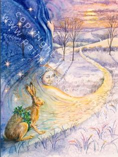 """Arianhrod at Winter Solstice by Wendy Andrew. """"In the dark sky Arianhrod appears. She is the keeper of the circling silver wheel of stars.  She pulls back her diamond studded deep-blue veil, to reveal the pink light of the Yule dawn."""""""