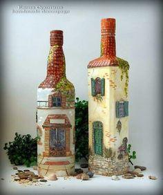 I love these / decoupage handmade art craft diy Wine Bottle Art, Painted Wine Bottles, Diy Bottle, Painted Wine Glasses, Wine Bottle Crafts, Bottles And Jars, Glass Bottles, Decorated Bottles, Garrafa Diy