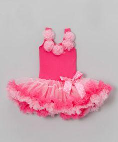 Hot Pink Bow Flower Dress - Infant, Toddler & Girls