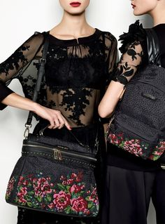 TWIN-SET Simona Barbieri: Lace blouse and embroidered skirt, Cécile roses bag. Embroidered tunic and pants, roses backpack
