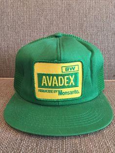 6de086540ea Vintage Avadex Herbicide Monsanto Trucker Style Snapback Hat Mesh Farm  Farming