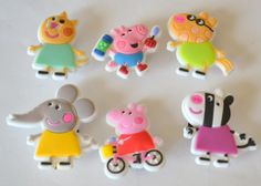 Pink Peppa Pig with Friends 6pc Shoe Charms Cake Toppers Birthday Party Pack, Locker Magnets, Back Pack Zipper Pulls by GroovyDeals on Etsy