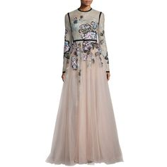 Elie Saab Floral-Embroidered Long-Sleeve Gown ($9,000) ❤ liked on Polyvore featuring dresses, gowns, multi, long sleeve a line dress, long sleeve evening gowns, lace evening dresses, long sleeve dresses and a line dress