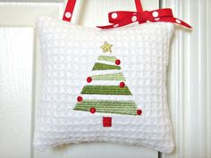 Christmas Tree Door Hanger Holiday White Red Green Modern Decorative Repurposed - pinned by pin4etsy.com