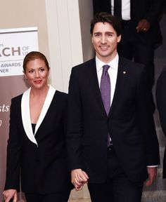 Canadian Prime Minister Justin Trudeau and his wife Sophie Gregoire-Trudeau attend the Catalyst Awards Dinner at Waldorf Astoria Hotel on March 2016 in New York City. (Photo by Ilya S. Trudeau Canada, Jessica Mulroney, Inspirational Leaders, Ron White, Dinner Wear, Pulled Back Hairstyles, First Lady Melania, Justin Trudeau, Royal Fashion