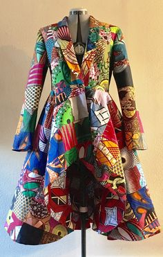 African Print Patchwork Coat Dress high low With Pockets and