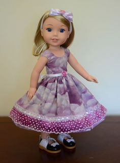 """""""Purple Clouds"""" Dress, Outfit, Clothes for American Girl Wellie Wishers…"""