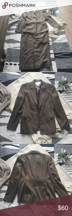 J O N E S  N E W  Y O R K  • Suit NWT Jones New York skirt suit that has timeless elegance. It has a long skirt with a slit in the front to add a little interest. Originally a 3 pc, but selling as a 2 pc with the suit jacket and skirt.  Comes from a smoke free home with no pets!  Bundle up for a private offer and bundle several things for a discount! Always open to offers, so feel free to make one :) Jones New York Skirts Skirt Sets