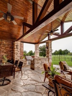 flooring outdoor Porch Design Photos including this patio addition to an existing traditional home. Use of stone for patio, benches and columns. Outdoor Rooms, Outdoor Living, Outdoor Kitchens, Outdoor Photos, Traditional Porch, Traditional Design, Timber Beams, Exposed Beams, Outside Living