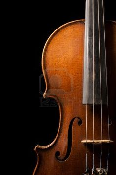 The violin close up on black Background Stock Photo