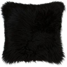 Natural Brand New Zealand Sheepskin Pillow Black 12 x20... found on Polyvore featuring home, home decor, throw pillows, filler, black toss pillows, black home decor, black throw pillows and black accent pillows