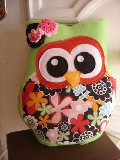 Owl  Pillow  Large Plush Red Vera Owl Pillow Softie     Fabric  Owl. $22.00, via Etsy.
