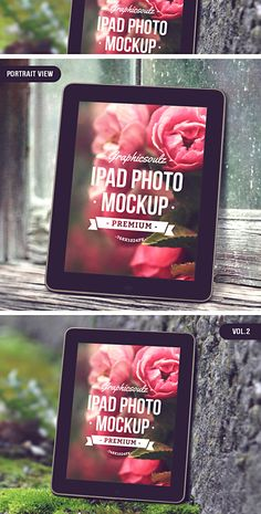 A stylish iPad photo mockup with smart object replaceable screens. Featuring a High resolution PSD, toggleable photo filters and smart layers. Ipad Photo, Mockup Templates, Photoshop Actions, Create, Designers