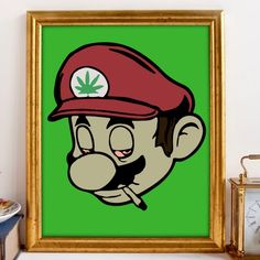 Stoner Mario, Gamer Art, Nintendo Art, Marijuana Art, Cannabis Art, Weed Mario Head, Jamaican Weed, 8x10 Art, Wall Decor, Classic Games by JamrockDesign on Etsy https://www.etsy.com/listing/264123775/stoner-mario-gamer-art-nintendo-art