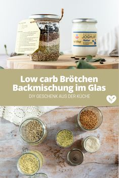 Low carb Brötchen Backmischung im Glas | DIY Upcycling | Koch mit Herz Low Carb Meal, Low Carb High Fat, Diy Upcycling, Food Styling, Detox, Food Photography, Breakfast, Makeup, Beautiful