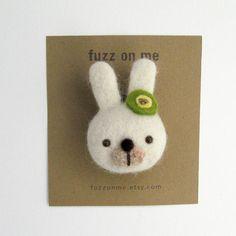 Felt animal brooch : needle felted bunny head brooch  door fuzzonme