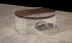 ACRYLIC ROUND LOW TABLE WITH INSET BLACK WALNUT MICROSLAB