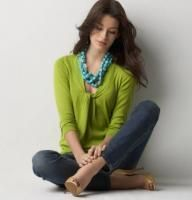 Ann Taylor LOFT Sprout Twist Vneck Sweater