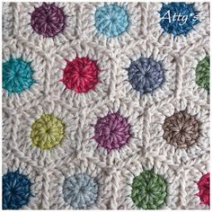 Use leftover yarn to make circles. Connect with a neutral color