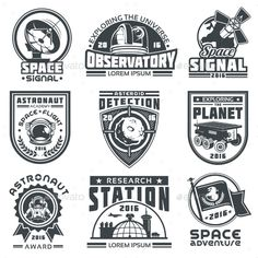 Set of Vector Badges Space Template EPS #astronaut