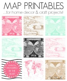 Map Printables Free Map Printables from Measured by the Heart to choose from!)Free Map Printables from Measured by the Heart to choose from! Printable Maps, Free Printables, Free Maps, Ideias Diy, Paper Crafts, Diy Crafts, Thinking Day, Planner, Craft Projects
