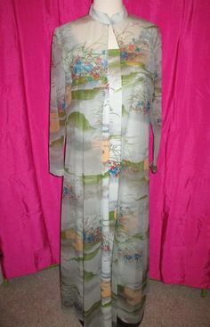 545cad76440 Vintage 60s 70s FUNKY POLYESTER Maxi HOSTESS DRESS w  sheer  over coat  SIZE