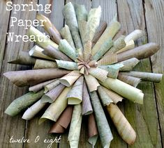 Spring Paper Wreath {twelveOeight} - The D. How To Make Wreaths, Crafts To Make, Diy Crafts, Craft Projects, Projects To Try, Craft Ideas, Book Wreath, Paper Wreaths, Paper Crafts Magazine
