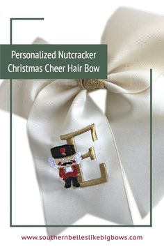 A beautiful holiday cheer style bow with tails that is the perfect personalized gift for nutcracker fans. It features an embroidered nutcracker with the initial letter of your choice. Available in three sizes and a variety of colors it is a must-have holiday accessory. All ends have been heat sealed to prevent fraying. The bow can be placed on a french barrette, alligator clip worn right, alligator clip worn left, or ponyO elastic. Cheer Hair Bows, Big Hair Bows, Christmas Hair Bows, Christmas Accessories, Nutcracker Christmas, Boutique Bows, Initial Letters, Barrette, Gifts For Girls