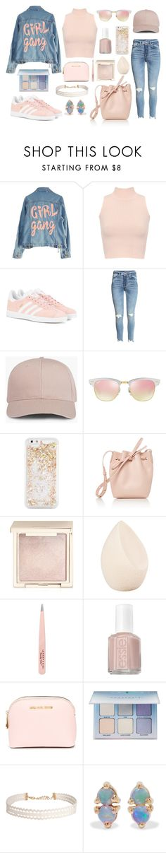 """""""girl gang"""" by ballereyna ❤ liked on Polyvore featuring High Heels Suicide, WearAll, adidas Originals, Ray-Ban, ban.do, Mansur Gavriel, Jouer, Christian Dior, Anastasia Beverly Hills and Essie"""