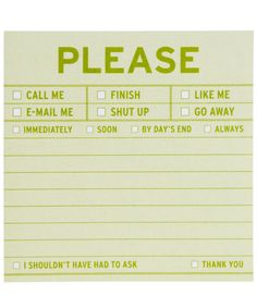 Please Sticky Note Pad *