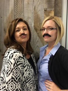 3folders Liz and @jvonsossan rocking their mustaches! #Movember