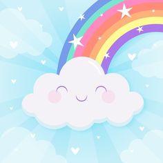 Rainbow Png, Rainbow Clipart, Arte Do Hulk, Minnie Mouse Birthday Decorations, Design Plano, Kawaii Background, Baby Shower Deco, Baby Gift Hampers, Rainbow Photo