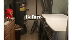 An updated new laundry room and steps I took to make a small space work with all the things I needed. Laundry Room Remodel, Basement Laundry, Unfinished Laundry Room, Small Basement Bedroom, Small Basements, Small Spaces, Home, Cabinets, Closure