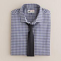 Thomas Mason® fabric spread-collar dress shirt in navy gingham