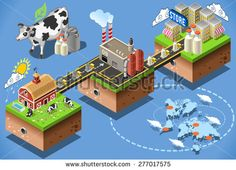 Dairy products stages of milk processing web isometric infographic concept vector from factory production to consumer table. Production and supply chain food industry. Milk Industry, Cow Icon, Milk Factory, Milk Processing, Milk Cans, Social Media Graphics, Dairy, Illustrations, Infographic