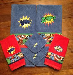 This set is Amazing! I did it as a custom order around Christmas and want to offer it! It is a set of 6 pieces total. 2 full size bathroom towels in blue. Embroidered with a comic hero logo and Avenge