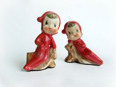 Vintage Porcelain Elf Pixie in Red Figurine Set by papercherries