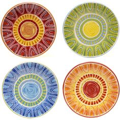 Certified International Hand-painted Tapas 8.75-inch Assorted Salad/... (€30) ❤ liked on Polyvore featuring home, kitchen & dining, dinnerware, multi, multi colored plates, salad dessert plates, salad plates, certified international dinnerware and certified international