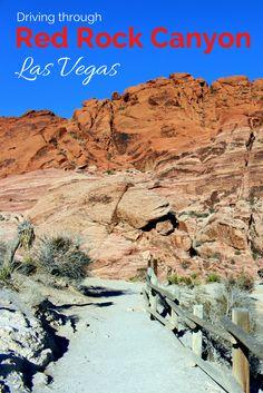 driving through Red Rock Canyon in Las Vegas